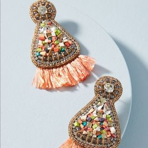 NEW Anthropologie Mosaic Fan Drop Earrings